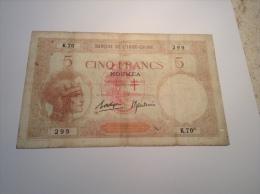 Nouvelles-Hébrides Billet Banque De L'Indochine NOUMÉA 5 Francs 1941-45 ND Signature BOROUGE & BAUDOIN Pick 4b Fine-good - Billets