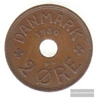 Denmark Km-number. : 827 1929 Very Fine Bronze Very Fine 1929 2 Öre Gekröntes Monogram - Denmark