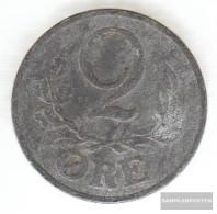 Denmark Km-number. : 833 1944 Very Fine Zinc Very Fine 1944 2 Öre Gekröntes Monogram - Denmark
