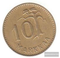 Finland Km-number. : 38 1953 Very Fine Aluminum-Bronze Very Fine 1953 10 Markkaa Leo In District - Finland