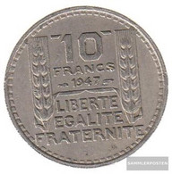 France Km-number. : 909 1948 Extremely Fine Copper-Nickel Extremely Fine 1948 10 Francs Laureate Smaller Head - K. 10 Francs