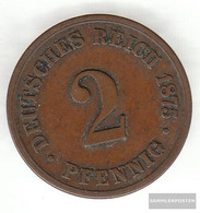 German Empire Jägernr: 2 1875 F Fine Bronze Fine 1875 2 Pfennig Smaller Imperial Eagle - Slovenia
