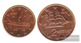 Greece GR1 - 2 Stgl./unzirkuliert Mixed Vintages Stgl./unzirkuliert 2002-2004 Kursmünze 1 And 2 Cent - Greece