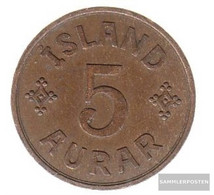 Iceland Km-number. : 7 1940 Very Fine Bronze Very Fine 1940 5 Aurar Gekröntes Monogram - Iceland