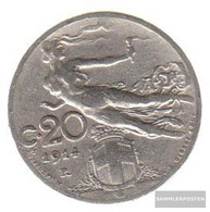 Italy Km-number. : 44 1912 Very Fine Nickel Very Fine 1912 20 Centesimi Head With Weizenähre - 1861-1946 : Kingdom
