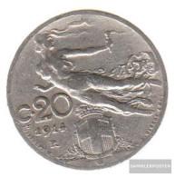 Italy Km-number. : 44 1914 Extremely Fine Nickel Extremely Fine 1914 20 Centesimi Head With Weizenähre - 1861-1946 : Kingdom