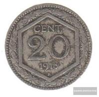 Italy Km-number. : 58 1918 Extremely Fine Copper-Nickel Extremely Fine 1918 20 Centesimi Crest, Überprägung De - 1861-1946 : Kingdom