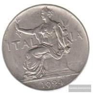 Italy Km-number. : 62 1923 Very Fine Nickel Very Fine 1923 1 Lira Sedentary Woman - 1861-1946 : Kingdom