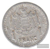 Monaco Km-number. : 120 1943 Very Fine Aluminum Very Fine 1943 1 Franc Louis II. - Monaco