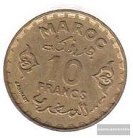 Morocco Km-number. : 49 1371 Very Fine Aluminum-Bronze Very Fine 1371 10 Francs Star - Morocco