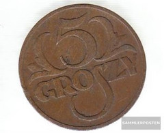 Poland Km-number. : 10 1923 Fine Brass Fine 1923 5 Groszy Crowned Adler - Poland