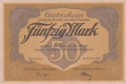 Deutschland, Germany, Sächsischer Gutschein Der Stadt Dresden, Set - 5, 20 & 50 Mark,  ( Reihe F & U & A ) UNC, 1918 ! - Verzamelingen