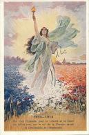 GUERRE 1914-18 - Jolie Carte Fantaisie Ange La Victoire Dans Champ Bleu Blanc Rouge - Guerre 1914-18
