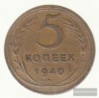 Soviet Union Km-number. : 108 1940 Very Fine Aluminum-Bronze Very Fine 1940 5 Kopeken Crest - Russia