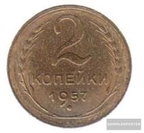 Soviet Union Km-number. : 120 1957 Very Fine Aluminum-Bronze Very Fine 1957 2 Kopeken Crest - Russia
