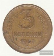 Soviet Union Km-number. : 121 1957 Very Fine Aluminum-Bronze Very Fine 1957 3 Kopeken Crest - Russia