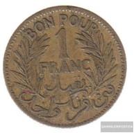 Tunisia Km-number. : 247 1926 /45 Very Fine Alunimium-Bronze Very Fine 1926 1 Franc Date In Wreath - Tunisia