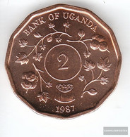 Uganda Km-number. : 28 1987 Stgl./unzirkuliert Steel, Copper Plattiert Stgl./unzirkuliert 1987 2 Shillings Crest - Uganda