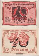 Arnstadt Notgeld: 43.1 Notgeld The City ArNstadt, Bst.: N Uncirculated 1921 10 Pfennig Arnstadt - [11] Local Banknote Issues