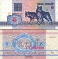 Weißrussland Pick-number: 4 Uncirculated 1992 5 Rublei Wölfe - Belarus