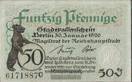 Berlin Notgeld: Notgeld The City Berlin Used (III) 1920 50 Pfennig Berlin - [11] Local Banknote Issues