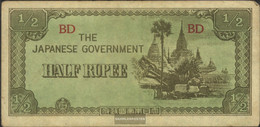 Birma Pick-number: 13b Uncirculated 1942 1/2 Rupee - Myanmar