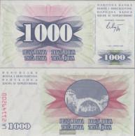 Bosnia-Herzegovina Pick-number: 15a Uncirculated 1992 1.000 Dinara - Bosnia And Herzegovina