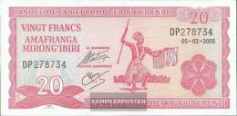 Burundi Pick-number: 27d (2005) Uncirculated 2005 20 Francs - Burundi