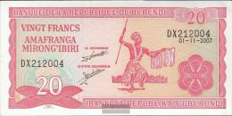 Burundi Pick-number: 27d (2007) Uncirculated 2007 20 Francs - Burundi