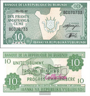 Burundi Pick-number: 33d (1997) Uncirculated 1997 10 Francs - Burundi