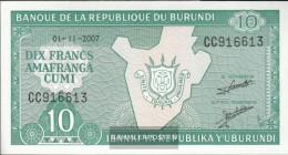 Burundi Pick-number: 33e (2007) Uncirculated 2007 10 Francs - Burundi