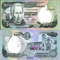 Colombia Pick-number: 429A Uncirculated 1992 200 Pesos Oro - Colombia