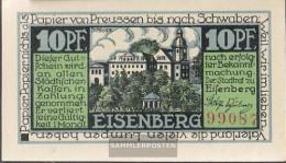 Eisenberg Notgeld: 322.1 A) 2. Castle Notgeld The StAdt Eisenberg Uncirculated 1921 10 Pfenning Eisenberg - [11] Local Banknote Issues