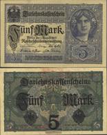 German Empire RosbgNr: 54b, 8stellige Kontrollnummer, Vs Graublau Uncirculated 1917 5 Mark - Papyrus
