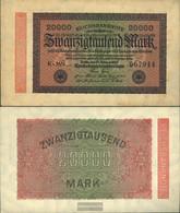 German Empire RosbgNr: 84e, Watermark Hakensterne 6stellige Kontrollnummer Uncirculated 1923 20.000 Mark - 20000 Mark