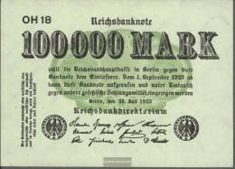 German Empire RosbgNr: 90b, Watermark Shaft Uncirculated 1923 100.000 Mark - Théodore Poussin