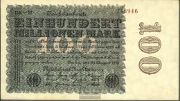 German Empire Rosenbg: 106q, Watermark Rings Black Firmenzeichen Used (III) 1923 100 Million Mark - [ 3] 1918-1933 : Weimar Republic