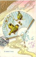 Carte Gaufrée - Je Pense à Vous, Oiseaux, éventail - Autres