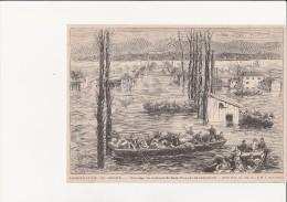 GRAVURE JOURNAL -INONDATION RHONE SAUVETAGE ST FONS  1876 - Revues & Journaux