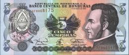 Honduras Pick-number: 63d Uncirculated 1994 5 Lempiras - Honduras