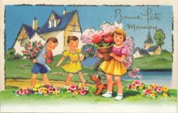 """ENFANTS - Jolie Carte Fantaisie Avec Paillettes Et Découpis Enfants Et Fleurs """"Bonne Fête Maman """" - IDA - Fête Des Mères"""