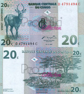 Kongo (Kinshasa) Pick-number: 83a Uncirculated 1997 20 Centimes Springbock - Unclassified