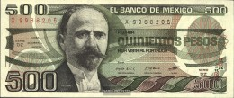 Mexico Pick-number: 79b Uncirculated 1984 500 Pesos - Mexico