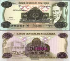 Nicaragua Pick-number: 149 Uncirculated 1987 100.000 Córdobas On 500 Córdobas - Nicaragua