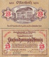Osterholz-Scharmbeck Notgeld: 25 Pf Yellow Notgeldschein The Amtssparkasse Osterholz Uncirculated 1921 25 Pfennig Osterh - [11] Local Banknote Issues