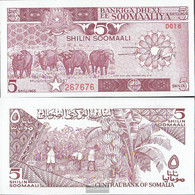 Somalia Pick-number: 31c Uncirculated 1987 5 Shilling Büffel - Somalia