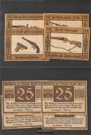 Suhl Notgeld: 1303.1 Four Notgeldscheine The City Suhl Uncirculated 1922 4 X 25 Pfennig Suhl - [11] Local Banknote Issues