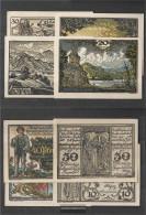 Tegernsee Notgeld: 1313.1 Four Notgeld- Scheine The Community Tegernsee Uncirculated 1921 10,20,30&40 Pfennig Tegernsee - [11] Local Banknote Issues
