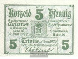 Triptis Notgeld The City Triptis Uncirculated 1920 5 Pfennig Triptis - [11] Local Banknote Issues