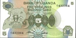 Uganda Pick-number: 15 Uncirculated 1982 5 Shillings - Uganda